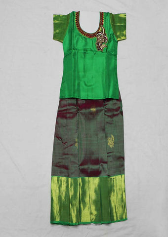 Green Pure silk Stitched pattu pavadai - FX12511 ( Age-2 years) ARRS Silks