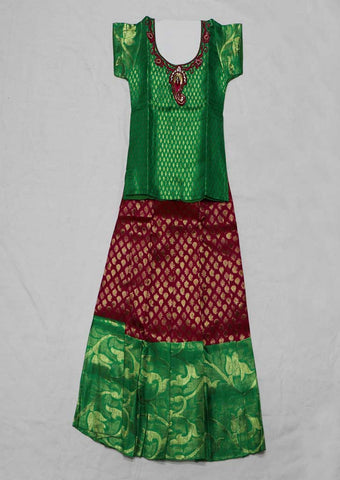 Green Pure silk Stitched pattu pavadai - FX12562 ( Age-2 years) ARRS Silks