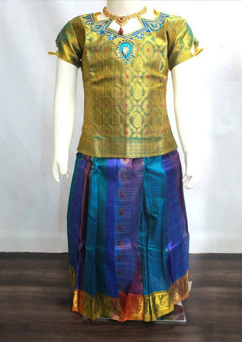 Green Readymade Pure silk pavadai  - ER5403 (Age - 6 years) ARRS Silks