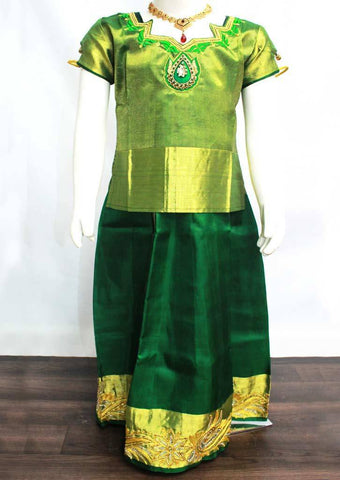 Green Readymade Pure silk pavadai  - ER5431 (Age - 6 years) ARRS Silks