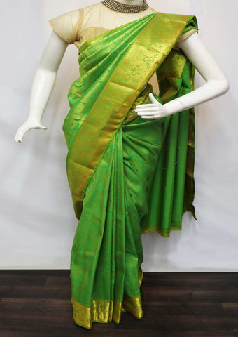 Green Semi Silk Saree  -  GB73465 ARRS Silks