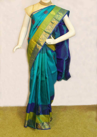 Green Shades with Blue Kanchipuram Silk Saree- 9KA6051 ARRS Silks
