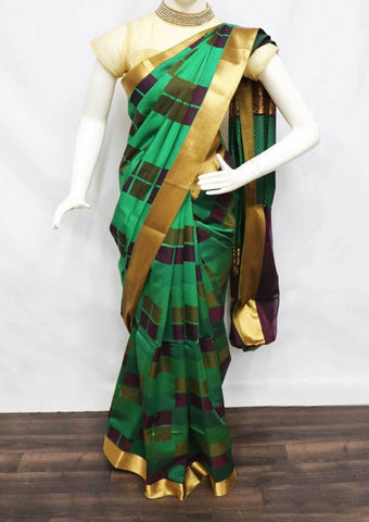 Green Silk Cotton Saree - 9KA7773 ARRS Silks