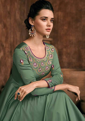 Green Silk Grand Chudi Material -FQ114263 ARRS Silks