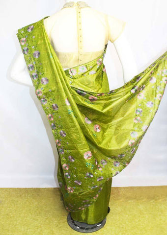 Green Tussar Silk Saree-FL60895 ARRS Silks