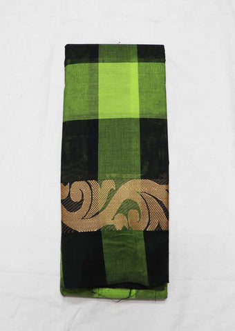 Green With Black Pure Cotton Saree - FZ3838 ARRS Silks