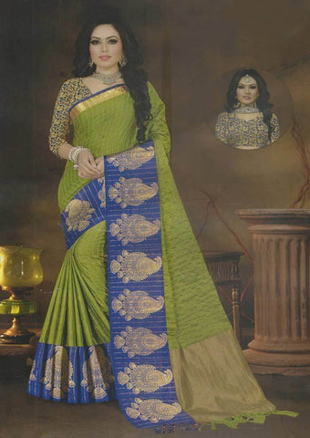 Green with Blue Fancy saree -FQ37951 ARRS Silks