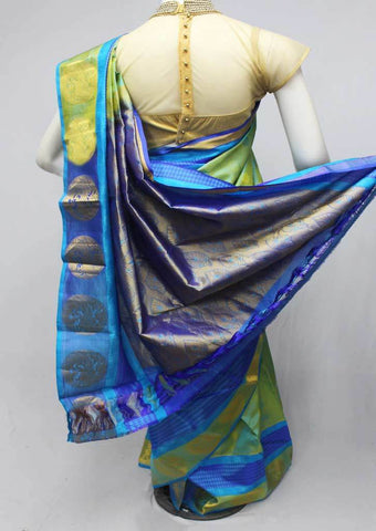 Green with Blue Kanchipuram Silk Saree-FQ18341 ARRS Silks