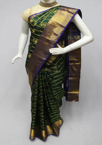 Green with Blue Kanchipuram Silk Saree-FQ22799 ARRS Silks