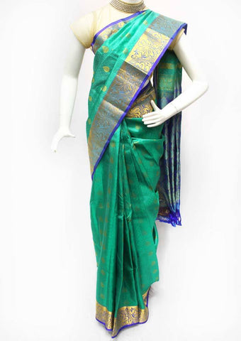 Green with Blue Kanchipuram Silk Saree - FQ41813 ARRS Silks