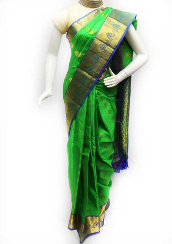 Green with Blue Kanchipuram Silk Saree - FQ41848 ARRS Silks