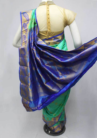 Green with Blue Kanchipuram Silk Saree-FQ41849 ARRS Silks