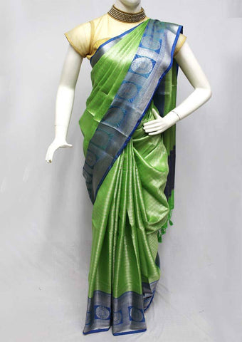 Green with Blue Organza Cotton Sarees- FQ135800 ARRS Silks