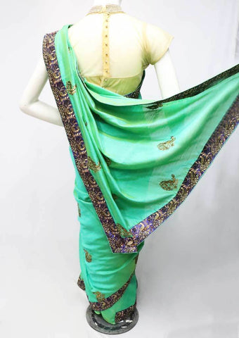 Green with Blue Sana Silk Saree-FO6077 ARRS Silks