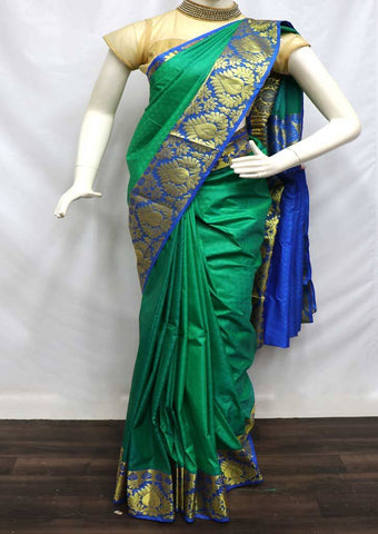 Green With Blue  semi silk saree  - FQ96840 ARRS Silks