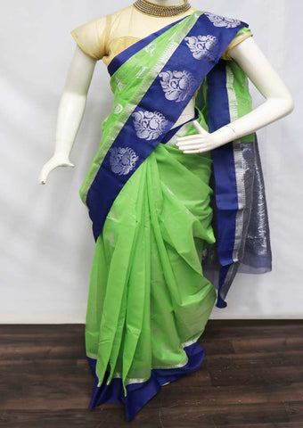 Green With Blue Silk Cotton Saree - GC56246 ARRS Silks