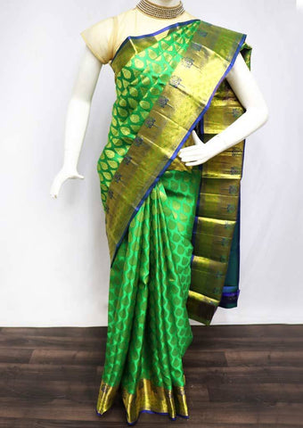Green with Blue Wedding Silk Saree - FQ60843 ARRS Silks