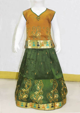 Green with Brown Pattu Pavadai - FN24285 ARRS Silks