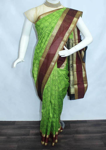 Green With golden Black Silk Cotton Saree - FL4842 ARRS Silks