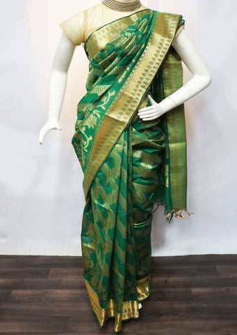 Green with Golden Pure Silk Cotton Saree - FV10420 ARRS Silks