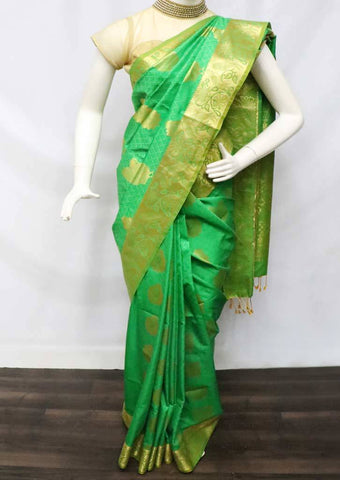 Green with Golden Soft Semi Silk Saree - FU27749 ARRS Silks