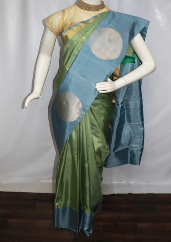Green With Gray and Blue Shade  Soft Silk Saree - GE41585 ARRS Silks