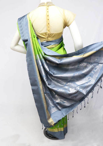 Green with Gray Soft Silk Saree - FP56271 ARRS Silks