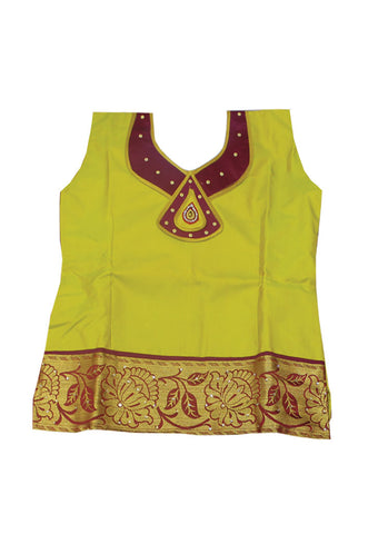 Green With Maroon Art Silk Pavadai