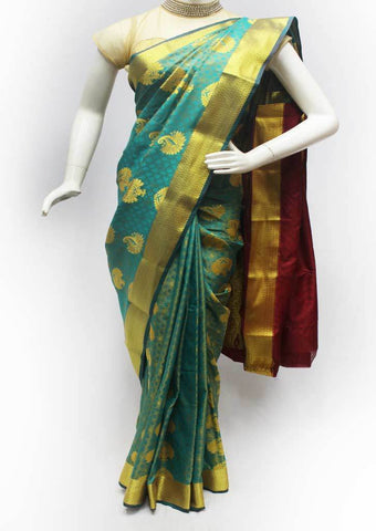 Green with Maroon Semi Silk Saree- FR78106 ARRS Silks