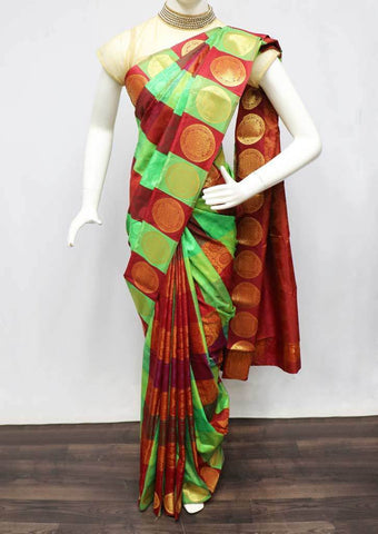 Green with Maroon Semi Silk Saree - FS31817 ARRS Silks