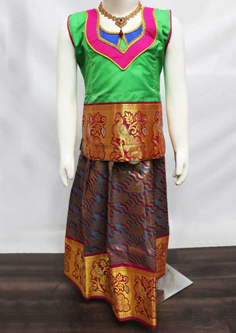 Green with Multi color  Pattu Pavadai - FK3040 (Size: 6 Years) ARRS Silks