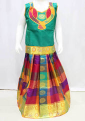 Green with Multi color Pattu Pavadai -FR21709 (Size : 8 Years ) ARRS Silks