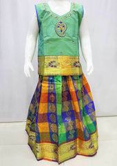 Green with Multi color Pattu Pavadai - FR21837 (Size : 8 Years ) ARRS Silks