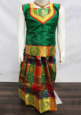 Green with Multi color Pattu Pavadai - FU3216 (Size: 6 Years) ARRS Silks