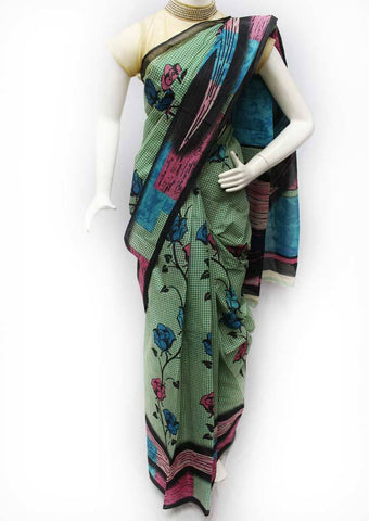 Green with Multi Color Printed Cotton Saree - FG3461 ARRS Silks