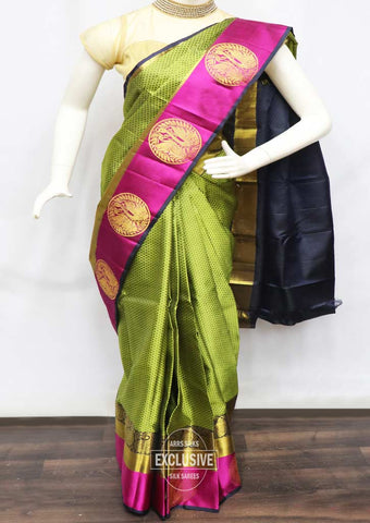 Green With Navy Blue Wedding Silk Saree - FR127664 ARRS Silks