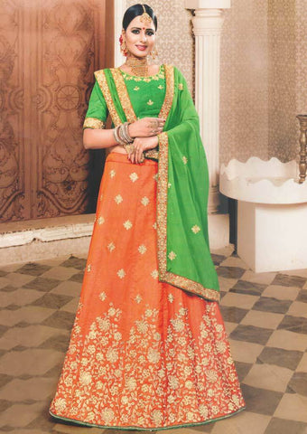Green with Orange Lehenga - FS20667 ARRS Silks