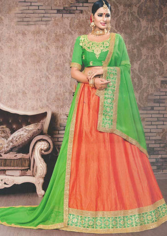 Green with Orange Lehenga - FS20693 ARRS Silks