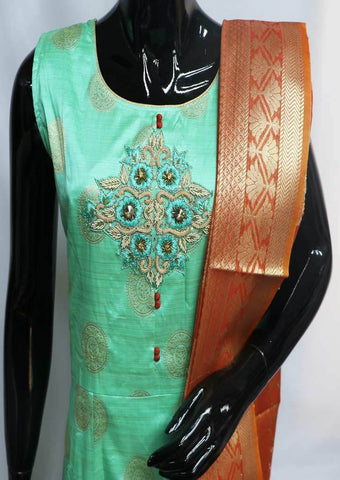 Green with Orange Readymade Salwar-FU47115 ARRS Silks