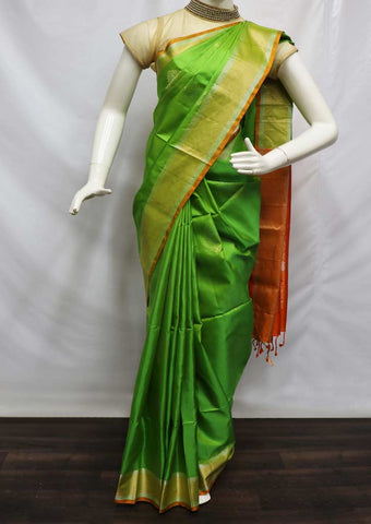 Green With Orange Soft Silk Saree - FQ41904 ARRS Silks