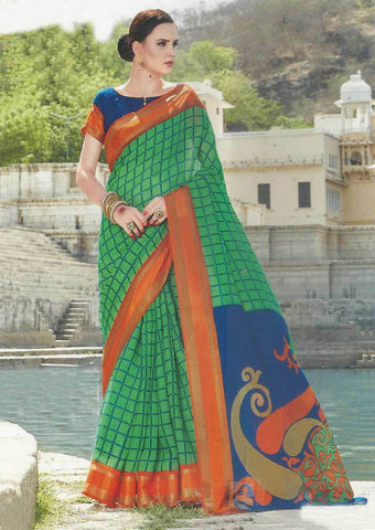 Green with Orange Synthetic Saree-FO97627 ARRS Silks