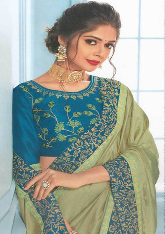 Green with Peacock blue Designer Saree-FS7568 ARRS Silks