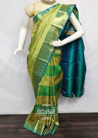 Green With Peacock Green Wedding Silk Saree - EO6343 ARRS Silks