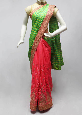 Green with Pink Designer Saree-FO45817 ARRS Silks