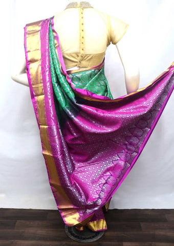 Green With Pink Kanchipuram Silk Saree - 9KA4096 ARRS Silks