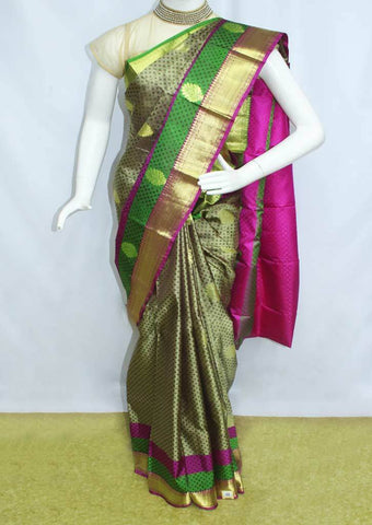 Green With Pink  Kanchipuram Silk Saree-FF26132 ARRS Silks