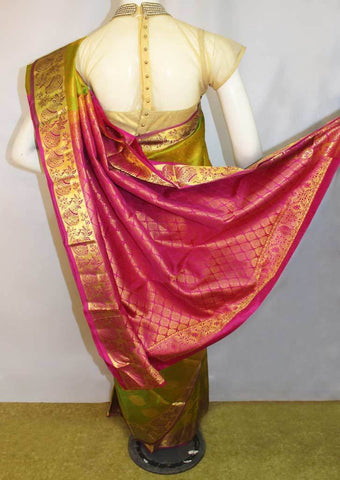 Green with Pink  Kanchipuram Silk Saree-FM76688 ARRS Silks