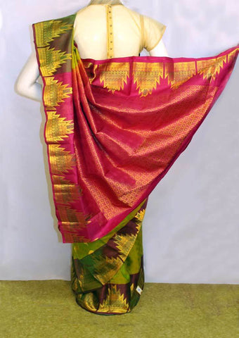 Green with Pink Kanchipuram Silk Saree - FM89838 ARRS Silks