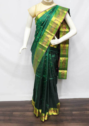 Green with Pink Kanchipuram Silk Saree -FQ22763 ARRS Silks