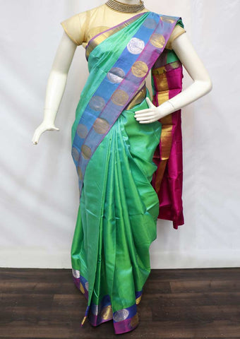 Green With Pink Kanchipuram Silk Saree - FR62426 ARRS Silks